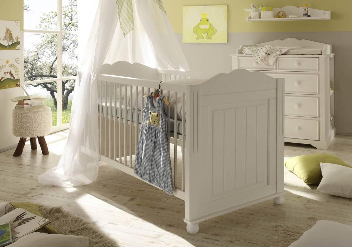 Kinderbett Babybett 70 x 140 cm Cinderella Kiefer, weiss