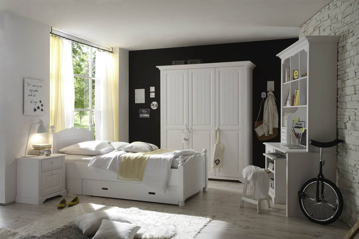 CINDERELLA Premium Jugendzimmer 3 - teilig Schlafzimmer in Kiefer, weiss