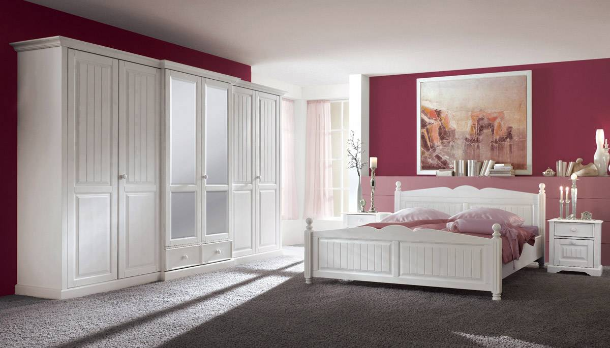 CINDERELLA Premium Schlafzimmer 3 Kiefer, weiss Komplettzimmer bestehend  aus Schrank, Bett und Nachtkommoden