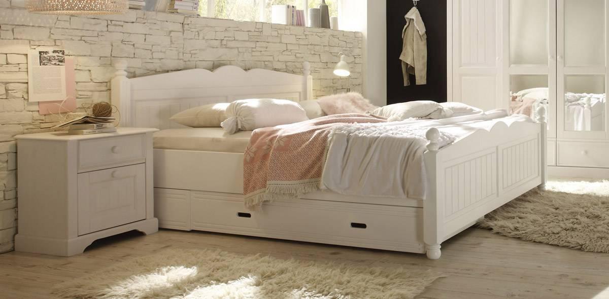 CINDERELLA Premium Bett Doppelbett mit Bettkasten Kiefer, weiss