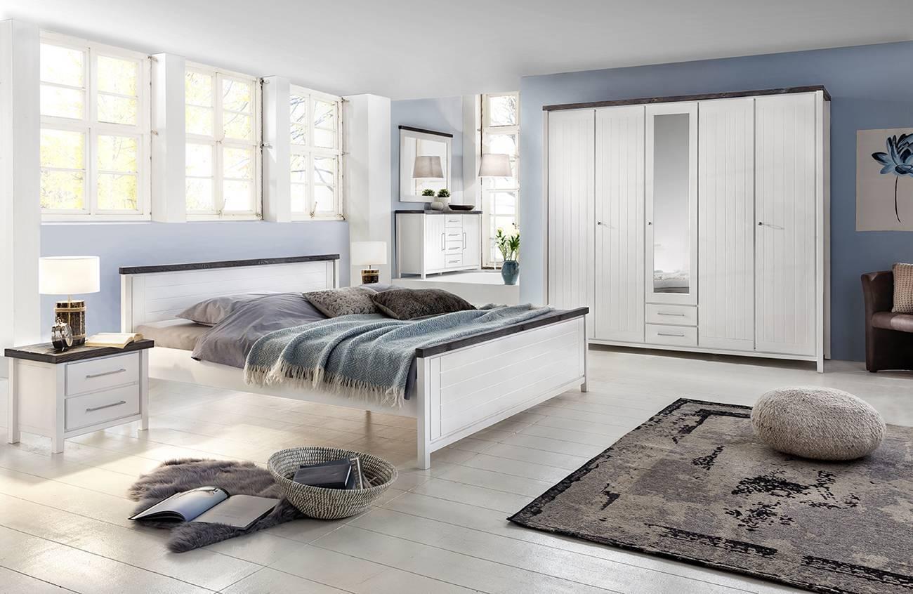 Schlafzimmer Komplett Landhaussstil Kiefer Massiv Weiss Lasiert