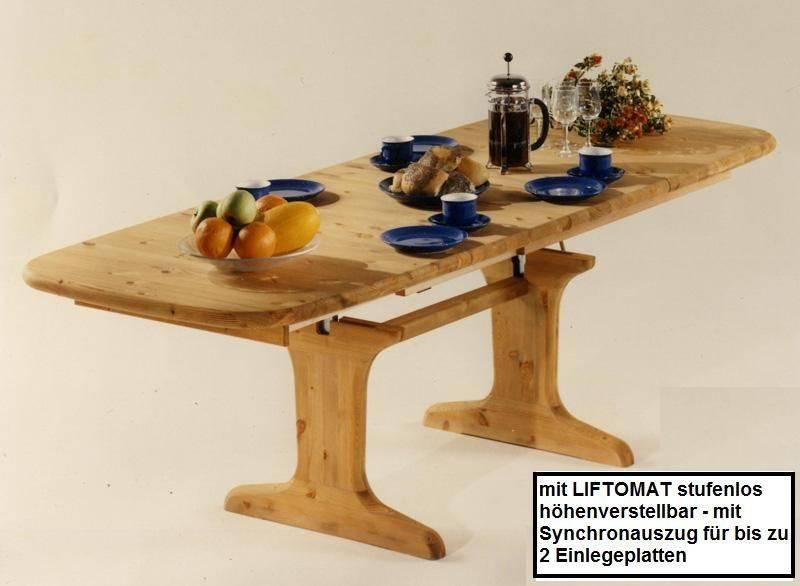 LIFTO Couchtisch Holz Kiefer massiv gelaugt/geölt oder natur/lackiert,  höhenverstellbar und ausziehbar