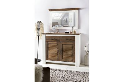 Kommode Highboard, Kiefer Landhaus, weiss, Modell Laguna