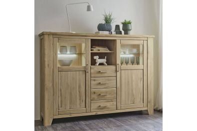Highboard Wildeiche massiv, Modell LOFT 38