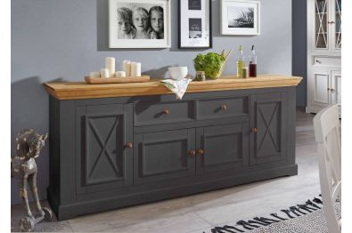 Sideboard Fanö I , Kiefer massiv mit Top-Platte in Eichefarbig