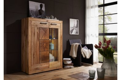 Highboard Thomas , Eiche massiv mit Hirnholz Inlays