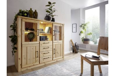 Highboard Kiefer massiv gelaugt