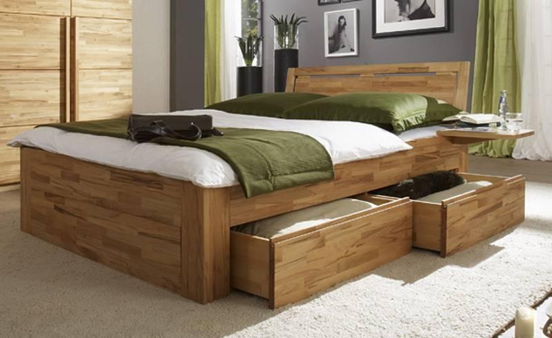 Bett Doppelbett Schubkastenbett mit Vierkantfüßen - Buche, Kernbuche oder  Wildeiche massiv, Modell Caro